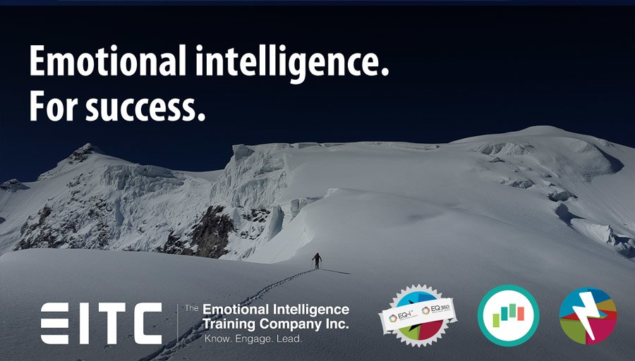 """Mountaineer approaching a peak: """"Emotional intelligence. For success."""""""