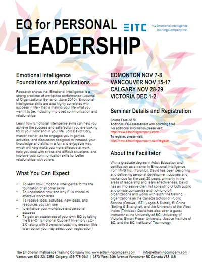 EQ for personal leadership course flyer