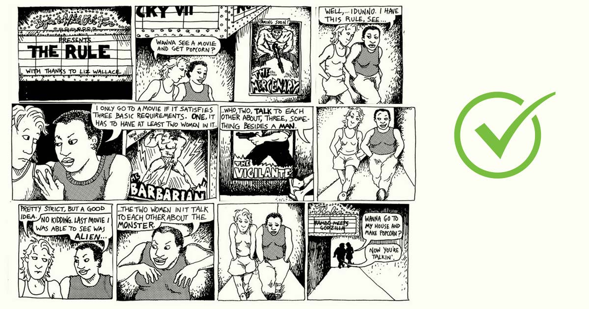Famous Allison Bechdel comic strip reference the test.