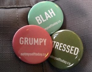 Three pins: grumpy, blah, stressed