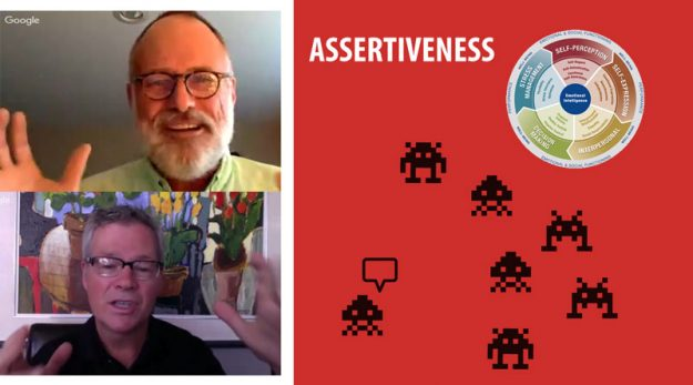 Assertiveness: one figure stands apart and speaks to the others
