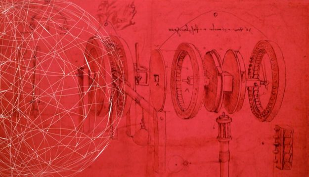 An illustration of gears by Leonardo Da Vinci lies in background with a globe network in the foreground.