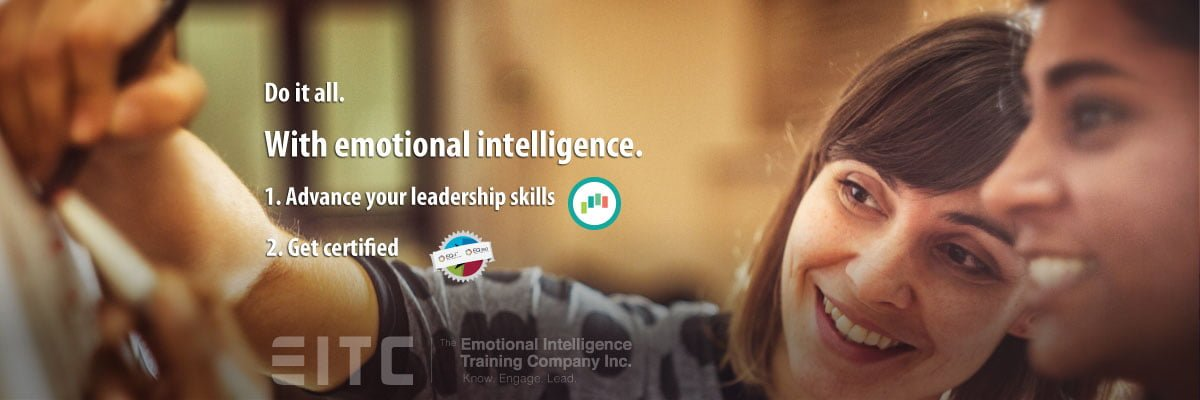 "Do it all with emotional intelligence: two women smiling and working together: ""Do it all, with emotional intelligence."""