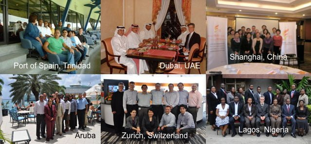 A montage of photos from international destinations that EITC has done training, including Dubai, Zurich and Lagos.