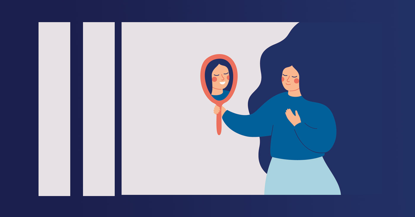 Illustration of a woman looking into a mirror and seeing something slightly different in the mirror.