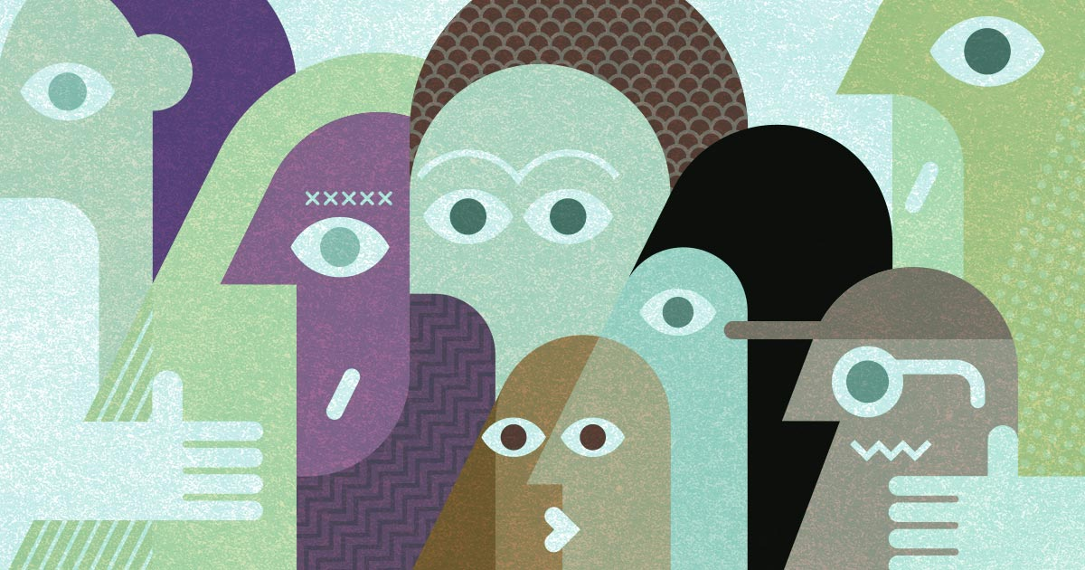 Illustration of a group of people represented by different colours and geometric shapes.