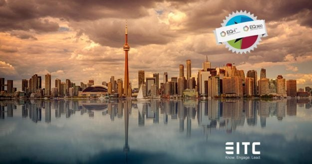 The EQ-i 2.0 certification icon floats over the Toronto city centre, with the EITC logo below.