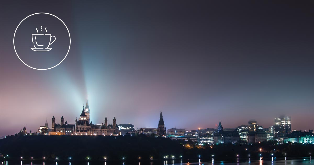 Our EQ For Breakfast icon floats over the parliament in Ottawa on a foggy morning.