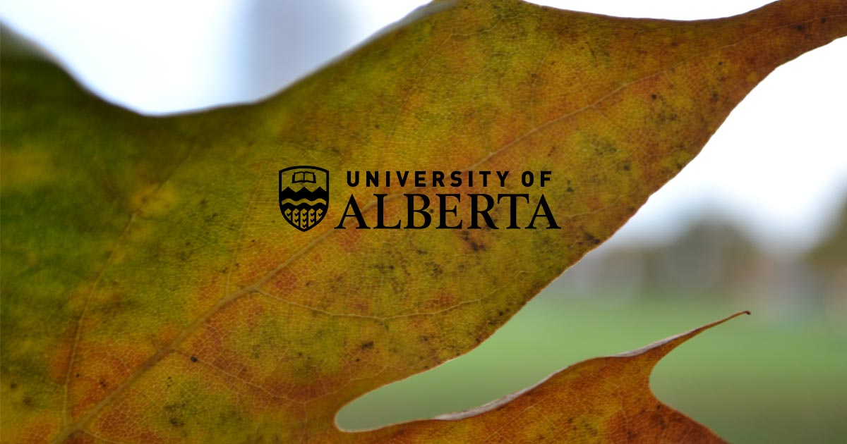 The University of Alberta logo over top of a leaf.