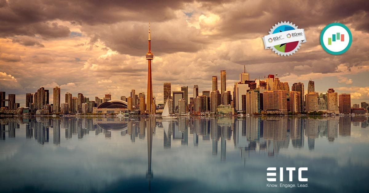 EQ-i 2.0 Certification logo and the EQ Leadership logo over the city of Toronto.