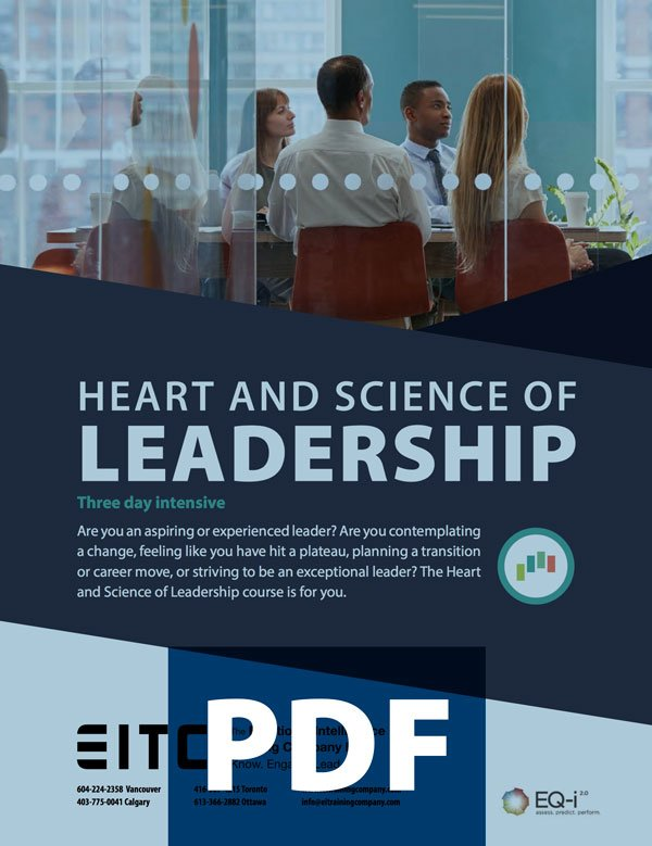 Leadership brochure cover image: Heart and Science of Leadership, three day intensive (PDF)