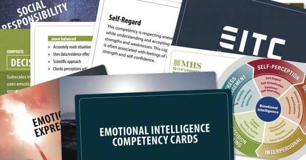 "Ten or so of the EITC competency cards are spread out to display their colourful imagery and engaging typography. The biggest card says ""emotional intelligence competency cards."""