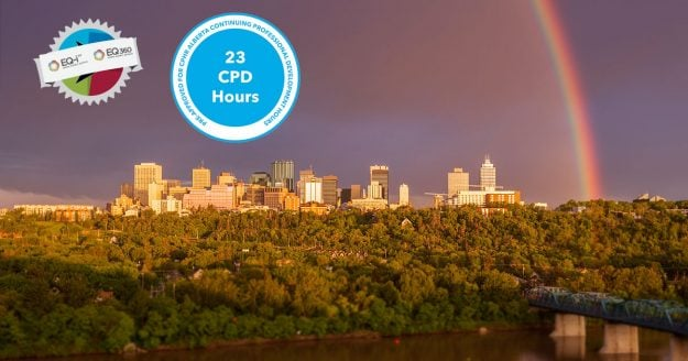 CPHR Alberta CPD logo hovers over the Edmonton skyline