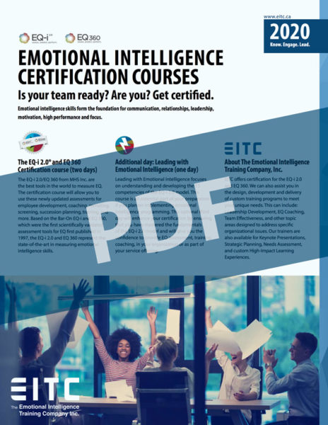The cover of the EQ-i 2.0 brochure for emotional intelligence certification.