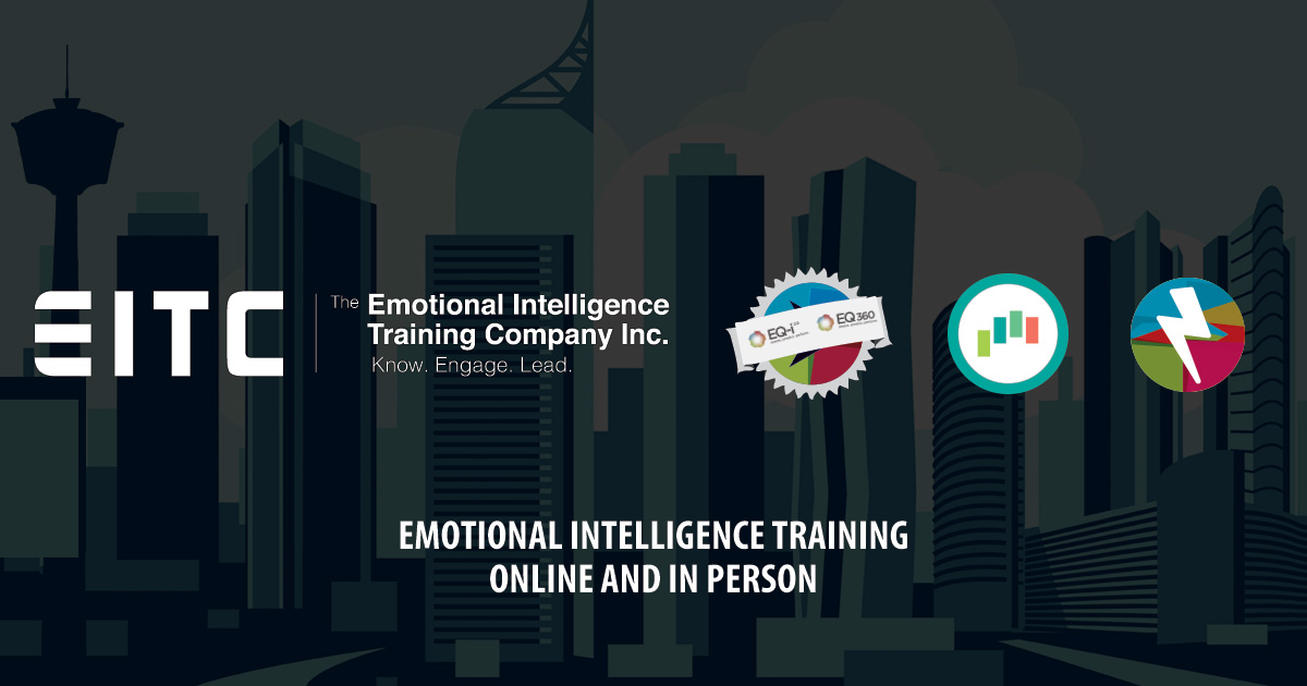 EITC logo over a city illustration with words, emotional intelligence training online and in person.